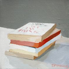 6x6 oil on canvas painting  Book Stack 5 by ElizabethMayville