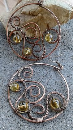 Copper wire creole earrings with Citrine stones c61b3c8b6281
