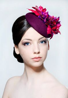 Elegant teal felt and peacock feather percher hat for wedding guest o…