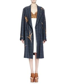 -6F75 Dries van Noten  Romeo Embroidered Check-Plaid Coat, Charcoal Dal Sequined Bustier Combo Dress, White/Gold
