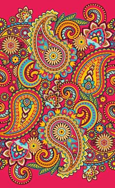 Paisley Stretched Canvas 16075 by Wall Art Prints Paisley Art, Paisley Design, Paisley Pattern, Pattern Art, Paisley Doodle, Design Floral, Dot Painting, Grafik Design, Indian Art