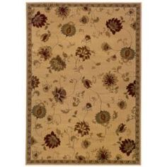 @Overstock - Indoor Beige Floral Area Rug (5' x 7'6) - Add a soft place to step with this neutral floral area rug. The brown tones that cover this rug look beautiful in traditional spaces, and the stain-resistant polypropylene is ideal for busy areas of the home that have lots of foot traffic.     http://www.overstock.com/Home-Garden/Indoor-Beige-Floral-Area-Rug-5-x-76/5543372/product.html?CID=214117  $96.89