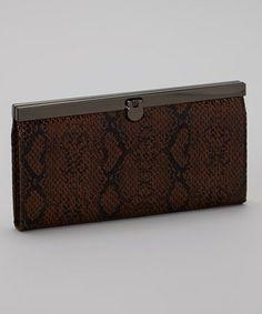 Look at this #zulilyfind! Brown Snakeskin Clutch #zulilyfinds