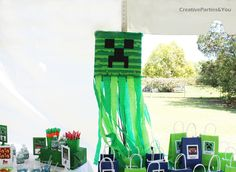 Minecraft Themed Birthday Party | CatchMyParty.com: Creeper Pinata
