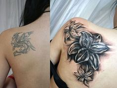 cover up flowers 28 Graceful Cover Up Tattoo Ideas