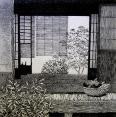 Summer in Room Tanaka Ryohei, Collection of Capt. Japanese Countryside, Japanese Furniture, Black White Art, Japanese Prints, Japanese Culture, Woodblock Print, Chinese Art, Art Google, Artist