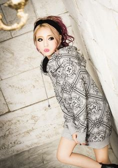 Inner Boa All Over Pattern Hoodie Dress