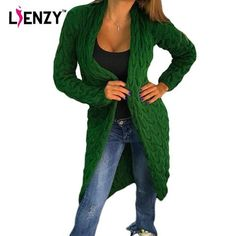 LIENZY 2016 Autumn Winter Casual Women cardigan Sweater Long Sleeve Long Ladies Knitted Coat Women Clothes