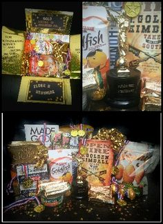 "LDS missionary care package: month 24. Well done! The GOLD MEDAL (homecoming) package. Includes: a book on J. GOLDEN Kimball, a book for returning missionaries, goldfish crackers, Trophy brand peanuts, All Gold brand chocolate, Rold Gold brand pretzels, gold wrapped Utah truffles, gold wrapped beef Old Dutch brand beef jerky, gold wrapped easter egg chocolates, GoldSeal brand sardines and tuna (x3) , Made Good brand granola bars, and a homemade ""World's Best Missionary"" trophy."
