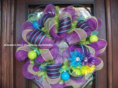 Beautiful Spring Easter Summer Deco Mesh Wreath