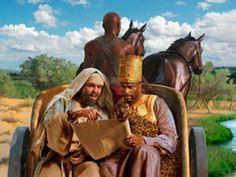 Hechos 8:26-29 26 Un ángel del Señor habló a Felipe, diciendo: Levántate y ve hacia el sur, por el camino que desciende de Jerusalén a Gaza, el cual es desierto. Entonces él se levantó y fue. Y sucedió que un etíope, eunuco, funcionario de Candace reina de los etíopes, el cual estaba sobre todos sus tesoros, y había venido a Jerusalén para adorar, volvía sentado en su carro, y leyendo al profeta Isaías. Y el Espíritu dijo a Felipe: Acércate y júntate a ese carro.