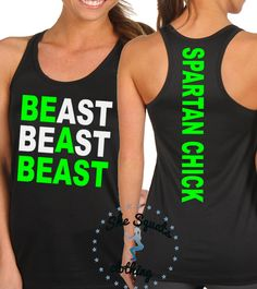 Beast race Lady Spartan Chick Tank gym tank by SheSquatsClothing Spartan Run, Spartan Race Training, Workout Attire, Workout Wear, Workout Shirts, Spartan Trifecta, Races Outfit, Mud Run, Figure Competition
