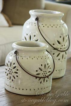 WHITE POTTERY JARS- luminary? garlic keeper?