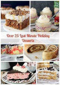 Over 25 Last Minute Holiday Desserts We all know things get busy this time of year. Well dessert should be something that you don't stress about! I've got over 25 last minute dessert ideas for you this holiday season. There's peppermi. Winter Desserts, Holiday Desserts, Holiday Treats, Just Desserts, Holiday Recipes, Delicious Desserts, Dessert Recipes, Dessert Ideas, Frosting Recipes