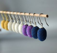 """indigo olives small oval earrings by """"Donauluft """"   Contemporary Beadwork"""