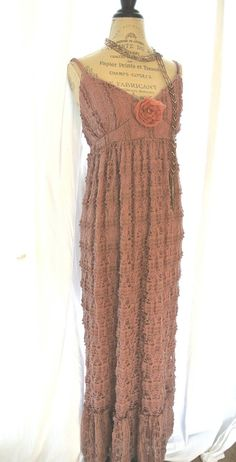 Gypsy cowgirl lace maxi dress, romantic, boho,farm girl chic, womens clothing, bohemain, beach, sundress. $82.00, via Etsy.