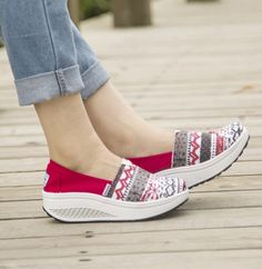 Women's #red canvas rocker sole shoe art pattern, #SlipOn style. canvas upper and cotton fabric, leather lining.
