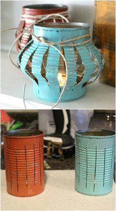 DIY Upcycled Tin Can Tea Lanterns. These are easy to make and just perfect for an outdoor cookout or picnic.