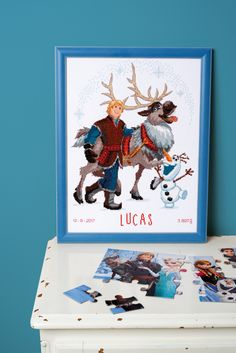 #vervaco #DIY #kit #Disney #Frozen #scandinavian #reindeer #sven #kristoff #cold #winter #summer #seasons #kidsroom #framed #portret #funny
