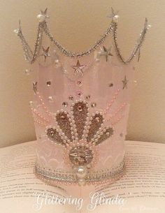 Glittering Glinda crown handmade wizard of oz princess party fairy crown glinda fairy crown pink glitter birhday photography prop costume by EverTheDream on Etsy