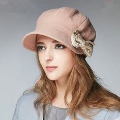 0cd869ddcea24 Elegance bow beret wool hat for women winter flat caps
