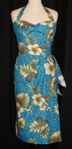 Vintage 1950s inspired Hawaiian sarong halter wiggle dress turquoise with ivory hibiscus S M L XL VLV rockabilly Viva by OuterLimitz on Etsy