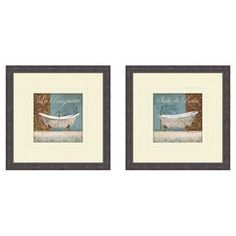 """Set of 2 framed prints of bathtubs with a script motif. Made in the USA.  Product: 2 Pieces of wall artConstruction Material: Polystyrene, paper, matted giclee and glassColor: BrownFeatures:  Made in the USAReady to hang Dimensions: 17.5"""" H x 17.5"""" W each"""