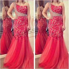 Largos One Shoulder Prom Dresses,Mermaid Prom Dresses,2016 Prom Dresses,Lace Prom Dresses,Tulle Prom Dresses,Crystals Prom Dresses,Long Prom Dresses