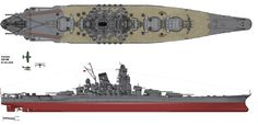Line drawing of IJN Battleship 'Yamato' in her final configuration on April the 7th 1945. This was the lead ship of the Yamato class of battleships that served with the Imperial Japanese Navy during World War II. She and her sister ship, Musashi, were the heaviest and most powerfully armed battleships ever constructed. Named after the ancient Japanese Yamato Province, she was launched on 8 August 1940 and served as the flagship of the Japanese Combined Fleet in 1942. Image: Alexpl