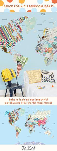 patchwork kids map mural muralswallpapercouk world map wallpaperwallpaper