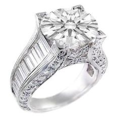 Jen, here's your ring! 3.00 Total Carat Round & Baguette Three-Stone Diamond Engagement Ring in 18k Gold 1.00 Carat GIA Certified Center Diamond