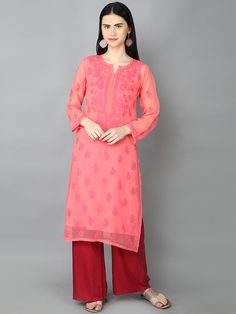 Ada Hand Embroidered Peach Faux Georgette Lucknowi Chikankari Kurti With Slip- A130753 offers a comfortable and relaxed silhouette to the wearer #AdaChikan #chikankari #chikan #handembroidered #georgette #lucknowi #traditional #kurti