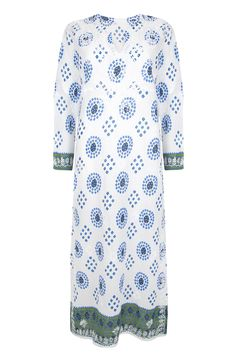 The Alexandra Kaftan in White and Blue from www.beachcover.com