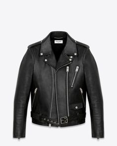 Saint Laurent Signature Motorcycle Jacket In Black Washed Leather from Saint Laurent Online #SaintLaurent #LeatherJacket