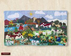 "Arpillera arte popular Del Perú 10""x17.7""- Cuadro textil de pared - Arpillera - Decoracion Hogar - Decoracion de Interior  Artesania peruana by DECORCONTRERAS on Etsy"