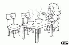 In het huis vond de Goudlokje tafel met drie kommen soep en eten de soep van de kleinere Bowl kleurplaat