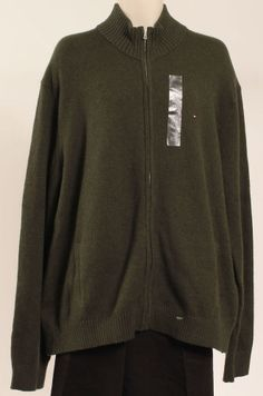 TOMMY HILFIGER CARDIGAN SWEATER BEACON SWEATER MOSS HEATHER sz 2XL