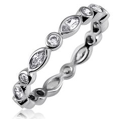 Sterling Silver Round Marquise Cubic Zirconia CZ Eternity Band Ring #r029