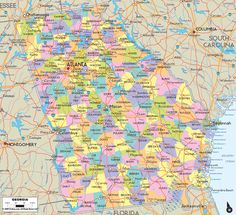 Map of the State of Georgia - map includes cities, towns and counties outline.