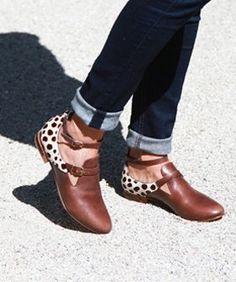 Brown + printed booties.