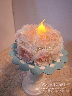Flower trim cake by Di Gibbs, Stamping with Di Battery operated tea light with rose trim from 2013 spring mini catalog Battery Operated Tea Lights, Led Tea Lights, Tea Light Candles, Candle Craft, 3d Paper Crafts, Birthday Crafts, Birthday Cake, Paper Cake, Light Crafts