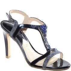 Sandalo con tacco alto in glitter blu con accessorio gioiello. 0df763c2cfa