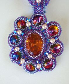 Crystal Beadwoven Rivoli Flower Necklace Unique by SpringColors