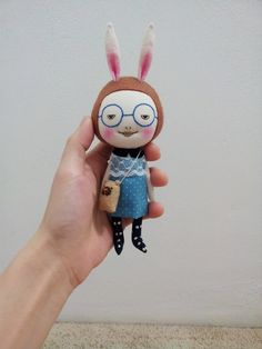 Handmade+smiling+doll+with+little+puppy++bag+by+EEchingHandmade,+$28.00