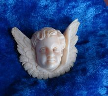 RARE Antique Victorian Dieppe IVORY cherub angel cupid Cameo Brooch Pin $875