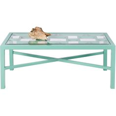 Worlds Away Winter Harbor Turquoise Coffee Table ($898) ❤ liked on Polyvore featuring home, furniture, tables, accent tables, coffee tables, interior, worlds away table, glass top table, outdoor furniture and glass top outdoor table