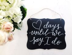 Wedding countdown chalkboard sign, from Etsy, Amanda Lee Lettering