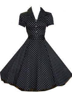 Black Vintage style Polka Dress UK 8-26 #swing #dresses #1950s #fashion #classic #vintage #polkadot