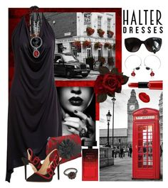 """""""Halter dress"""" by hubunch ❤ liked on Polyvore featuring Etro, WALL, Carla Amorim, Chanel, Winky Lux, Elizabeth Arden, Charlotte Olympia, Giorgio Armani, black and red"""