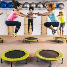 Try a trampoline workout. They burn just as many calories as a 10-minute-mile jog, found a new study. | Health.com